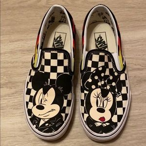 Disney Vans Minnie and Mickey Checkered Slip Ons